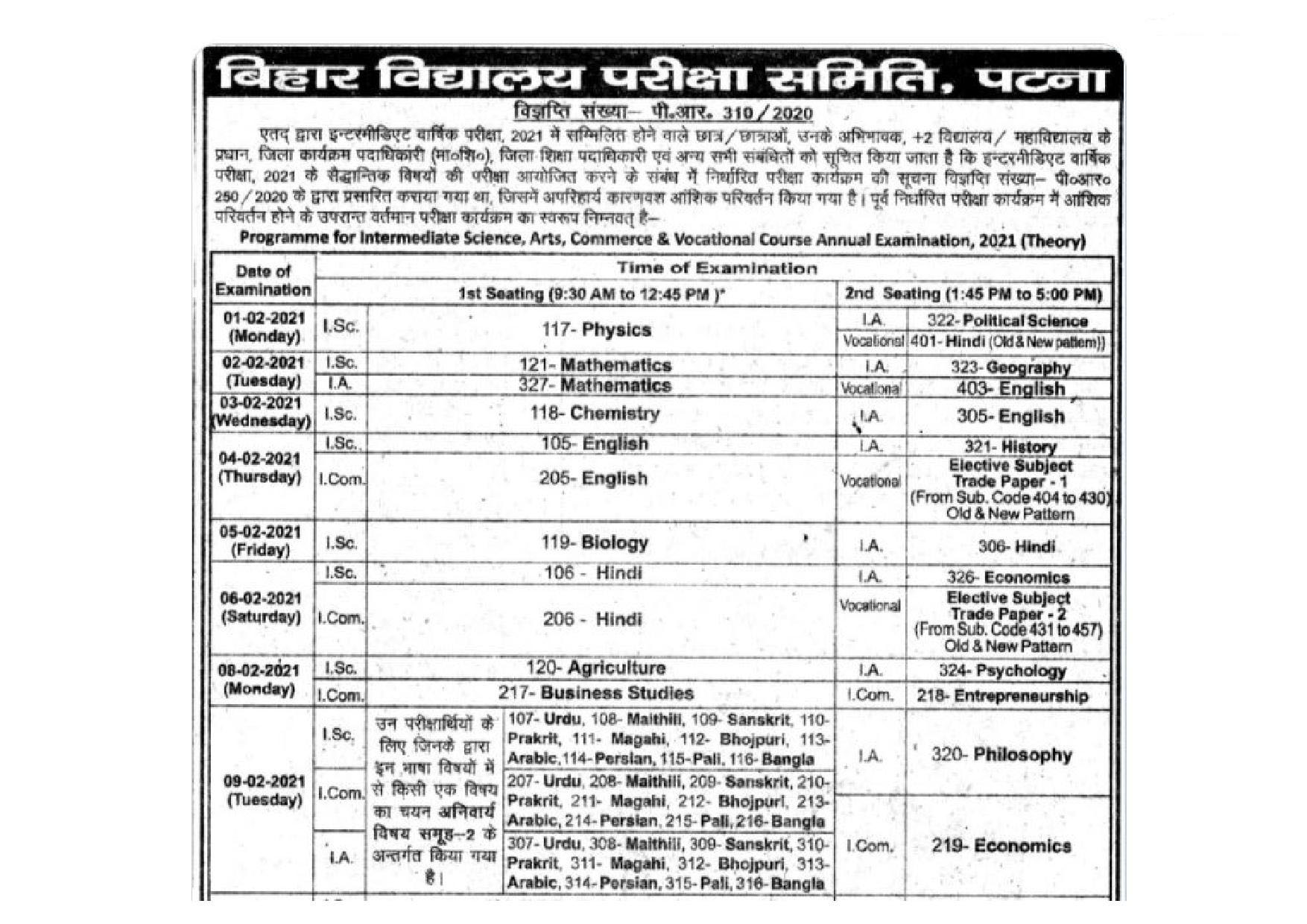 Bihar Board Intermediate Date Sheet 2021